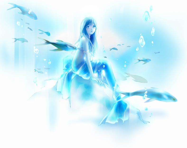 Beautiful Blue Anime Mermaid