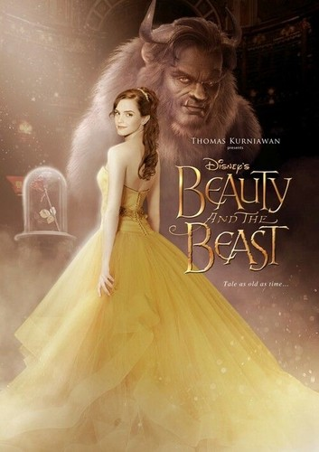 Beauty and the Beast (2017) پیپر وال probably with a gown, a bridal gown, and a رات کے کھانے, شام کا کھانا dress called Beauty and the Beast