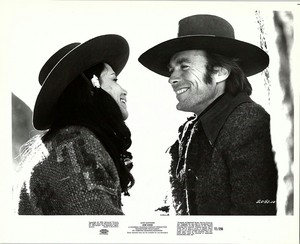 Clint Eastwood and Stella Garcia on the set of Joe Kidd 1972