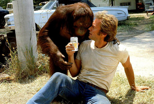Clint and Clyde on set Every Which Way but Loose 1978