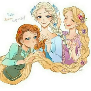 Elsa and Anna and rapunzel