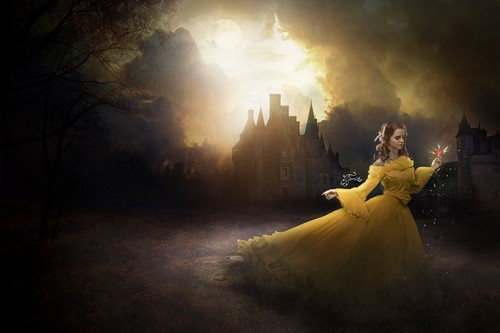 Beauty and the Beast (2017) achtergrond with a bridesmaid titled Emma Watson as Belle
