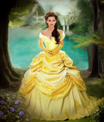Beauty and the Beast (2017) wallpaper containing a gown, a bridesmaid, and a jantar dress titled Emma Watson as Belle fã art