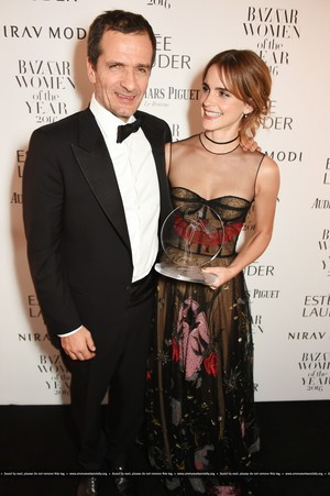 Emma Watson attends the Harper's Bazaar Women of the Jahr Awards 2016 at Claridge's Hotel on October