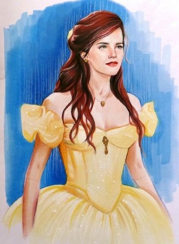 Beauty and the Beast (2017) wallpaper probably containing a koktil, koktail dress, a makan malam dress, and a gaun titled Emma Watson in her Belle Ballgown