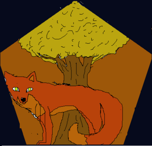 rubah, fox drawed with paint