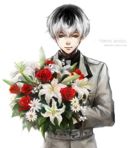 Ken Kaneki wallpaper probably with a bouquet entitled Haise Sasaki