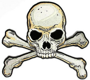 Haunted Skull traverser, croix Bones Pirate Motorcycle Funny