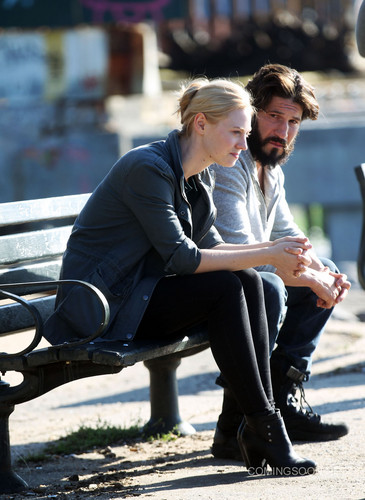 The Punisher - Netflix kertas dinding with a park bench and a business suit entitled Jon and Deborah - BTS