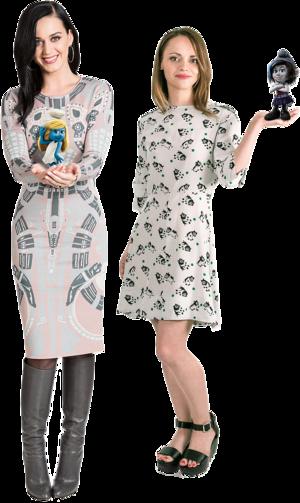 Katy Perry & Christina Ricci with Smurfette & Vexy