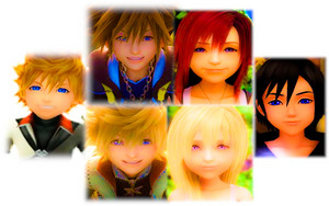 Kingdom Hearts Sora  Kairi  Roxas  Namine  Xion  and Ventus. edited