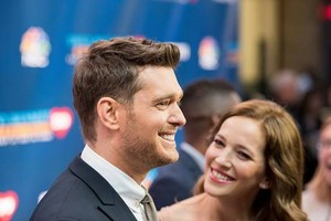 Luisana Lopilato and Michael Buble in New York to help celebrate Tony Bennett's 90th birthday