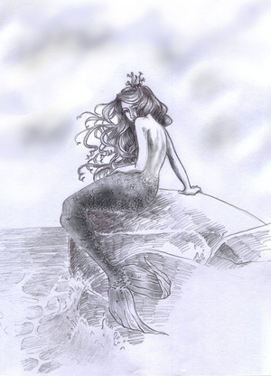 Mermaid on Rock (Drawing)