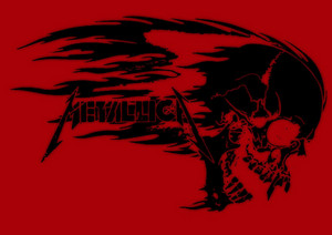 金属乐队 logo skull flames 金属乐队 poster