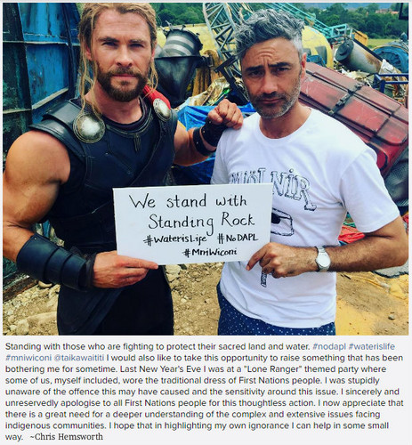 Thor: Ragnarok wolpeyper entitled Miigwech Chris Hemsworth and Taika Waititi