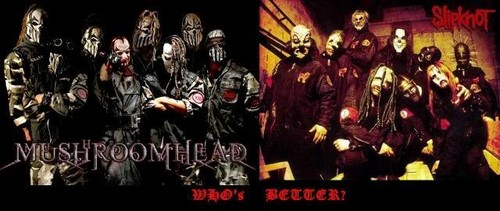 Metal wallpaper possibly containing a concert entitled Mushroomhead vs slipnot