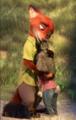 Nick & Judy hug (Zootopia)