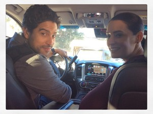 Paget and Adam on set of Criminal Minds