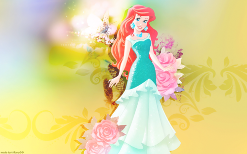 Disney Princess wolpeyper with a bouquet titled Princess Ariel