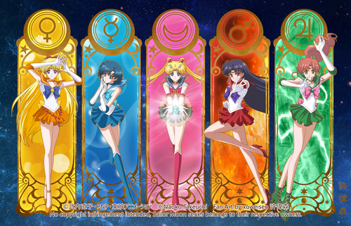 Sailor Moon kertas dinding probably with a stained glass window entitled Sailor Moon Crystal Inner Senshi