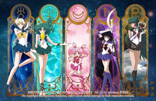 Sailor Moon Hintergrund probably containing a stained glass window and Anime titled Sailor Moon Crystal Outer Senshi