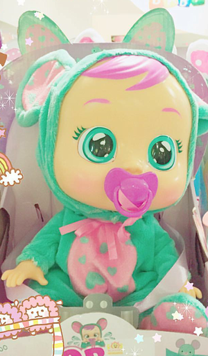 Cute doll big eyes rosado, rosa hair pacifier