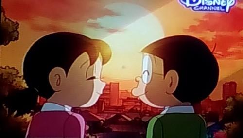 Doraemon Hintergrund probably with Anime titled Shizuka consoling Nobita