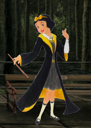 Childhood Animated Movie Characters wallpaper possibly with a surcoat, a kirtle, and a tabard titled Snow White in Hufflepuff