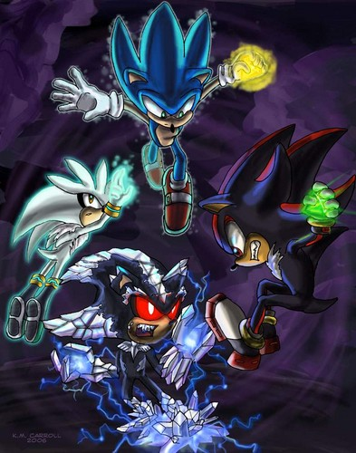 Nhím Sonic hình nền containing anime titled Sonic, Shadow, and Silver Vs Mephiles