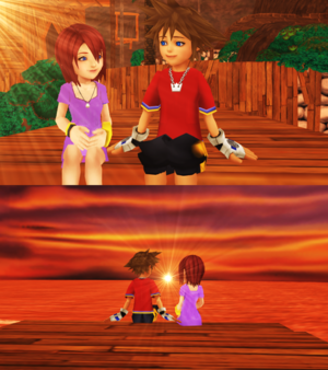 Sora and Kairi Watching Sunset Destiny Islands