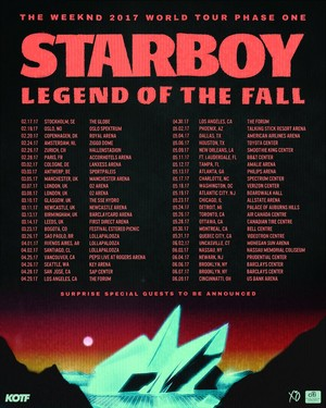 Starboy: The Legend Of The Fall. - dates