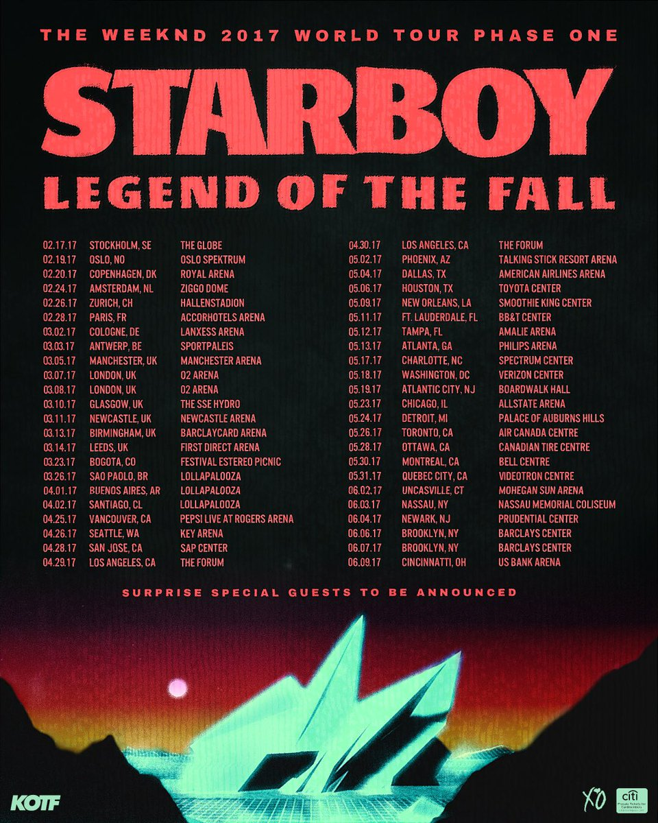 The Weeknd Starboy Tour Setlist