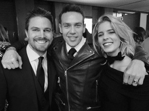 Stephen, Emily and Kevin - Arrow 100th Episode Party