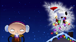 Stewie shocks Brian with krisimasi lights