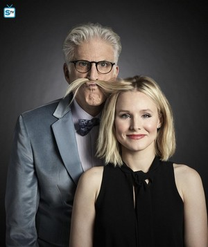 The Good Place - Season 1 Portrait - Ted Danson and Kristen cloche, bell