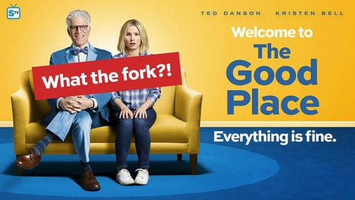 The Good Place Hintergrund possibly with a sign titled The Good Place - Season 1 Poster - What the fork?!