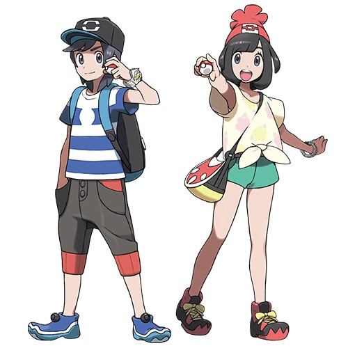 The protagonists of Pokémon Sun and Moon
