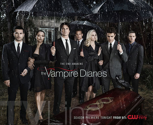 the vampire diaries tv tampil wallpaper with a business suit titled The vampire diaries season 8 poster