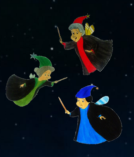 Childhood Animated Movie Characters wallpaper titled Three Fairies in Hogwarts