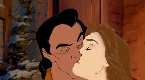 Disney crossover karatasi la kupamba ukuta titled belle and gaston kiss trucking