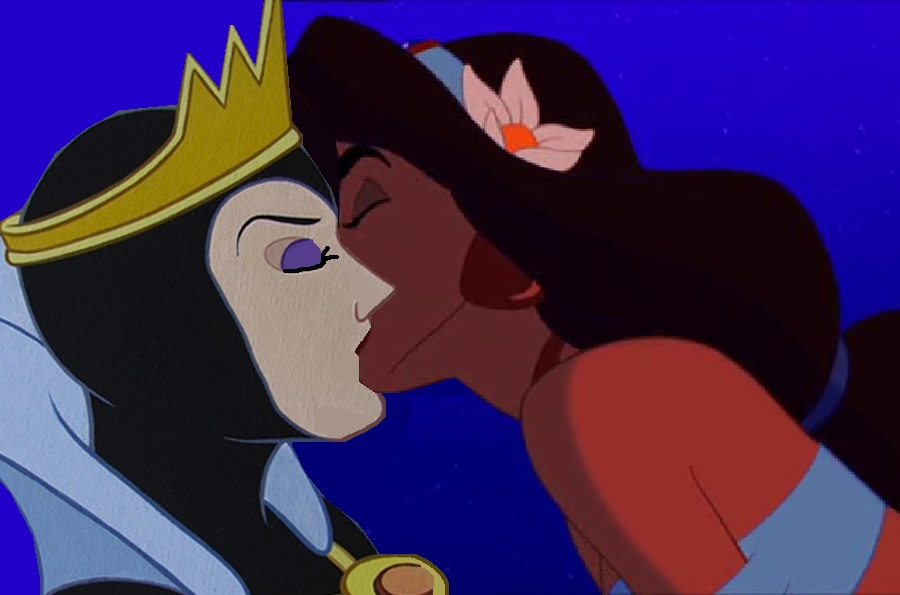 jasmine and the evil queen kiss