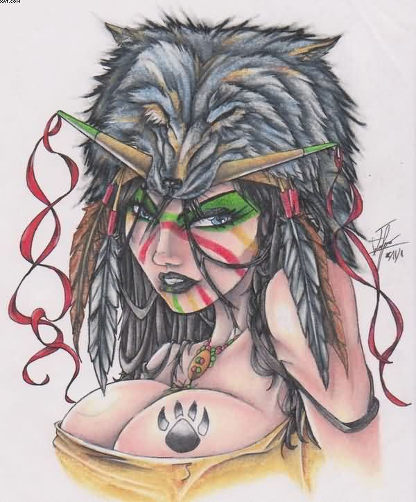 Tattoos Images Native American Indian Girl Wolf Head Tattoo Design