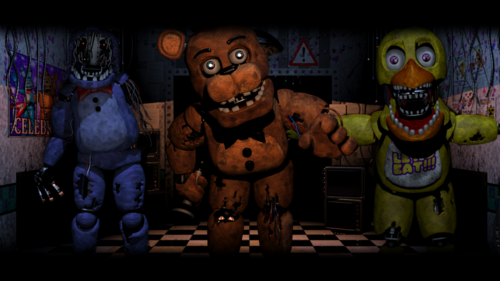 Five Nights at Freddy's پیپر وال containing a totem pole entitled old gang five nights at freddy s 2 پیپر وال سے طرف کی bloodyhorrible d897vxj