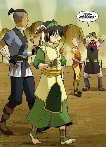 Avatar The Last Airbender karatasi la kupamba ukuta possibly containing a surcoat titled the Rift -Aang, Sokka and Toph