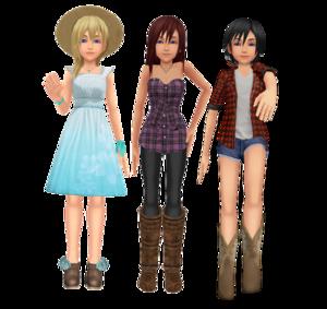 .Kingdom Hearts Kairi Namine Xion Country Lumberjack Kazuki9484 Kohaku Ume Lexalice
