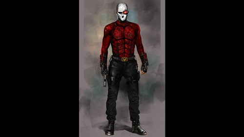Suicide Squad 바탕화면 possibly containing a surcoat, a hip boot, and a protective 외피, 의류 titled 'Suicide Squad' Concept Art ~ Deadshot