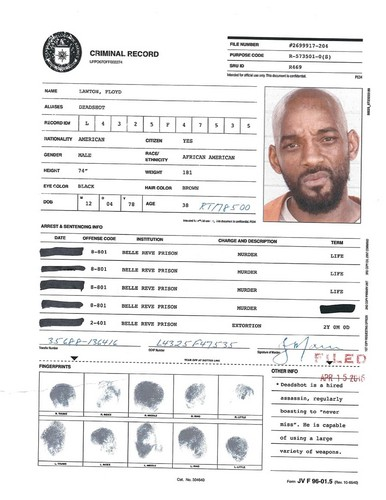Suicide Squad achtergrond titled A.R.G.U.S. Files - Deadshot's Criminal Record
