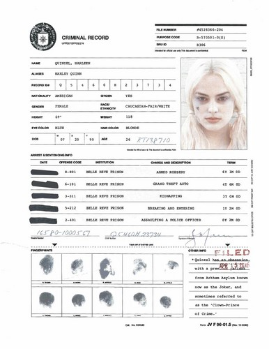 Suicide Squad 壁纸 called A.R.G.U.S. Files - Harley Quinn's Criminal Record