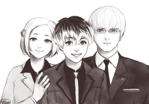 Tokyo Ghoul wolpeyper possibly with a business suit and a well dressed person called Akira,Kaneki/Sasaki and Arima