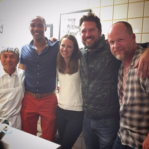 Amy Acker with J. August Richards and Alexis Denisof
